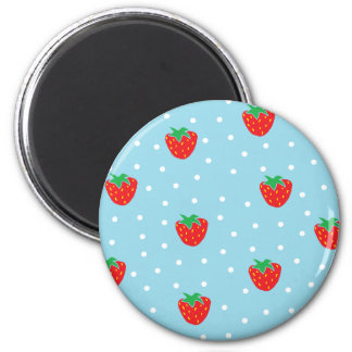 Strawberries and Polka Dots Blue 2 Inch Round Magnet