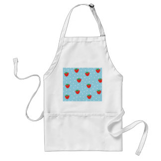 Strawberries and Polka Dots Blue Adult Apron