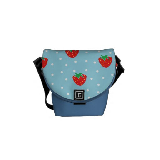 Strawberries and Polka Dots Blue Courier Bags
