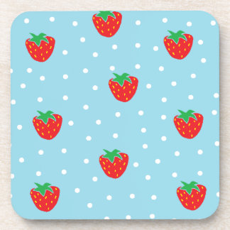 Strawberries and Polka Dots Blue Drink Coaster