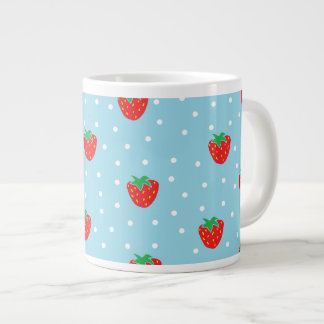 Strawberries and Polka Dots Blue Giant Coffee Mug