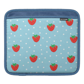 Strawberries and Polka Dots Blue Sleeves For iPads