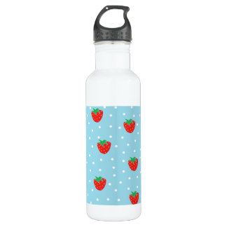 Strawberries and Polka Dots Blue 24oz Water Bottle