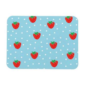 Strawberries and Polka Dots Blue Rectangular Photo Magnet