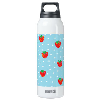 Strawberries and Polka Dots Blue 16 Oz Insulated SIGG Thermos Water Bottle