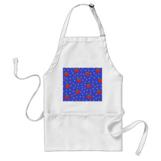 Strawberries and Polka Dots Dark Blue Adult Apron