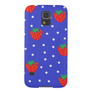 Strawberries and Polka Dots Dark Blue Galaxy S5 Cases