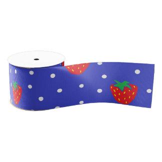 Strawberries and Polka Dots Dark Blue Grosgrain Ribbon