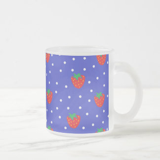 Strawberries and Polka Dots Dark Blue 10 Oz Frosted Glass Coffee Mug