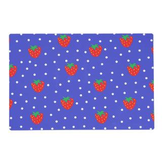 Strawberries and Polka Dots Dark Blue Laminated Placemat