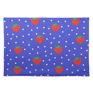 Strawberries and Polka Dots Dark Blue Cloth Placemat