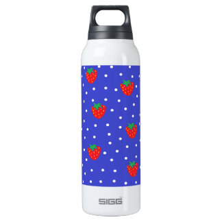 Strawberries and Polka Dots Dark Blue 16 Oz Insulated SIGG Thermos Water Bottle