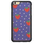 Strawberries and Polka Dots Dark Blue Carved® Maple iPhone 6 Plus Bumper Case