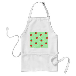 Strawberries and Polka Dots Mint Green Adult Apron
