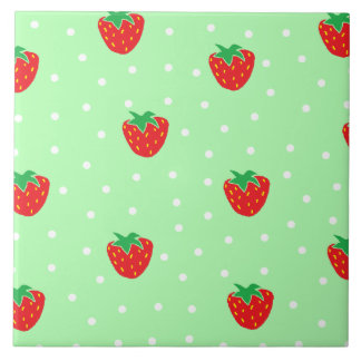 Strawberries and Polka Dots Mint Green Ceramic Tile