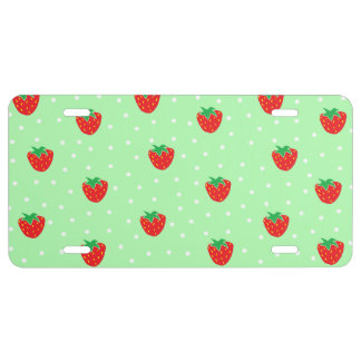 Strawberries and Polka Dots Mint Green License Plate
