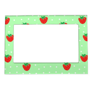 Strawberries and Polka Dots Mint Green Magnetic Picture Frame