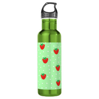 Strawberries and Polka Dots Mint Green 24oz Water Bottle