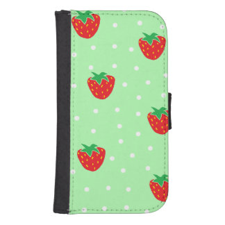 Strawberries and Polka Dots Mint Green Phone Wallet Cases