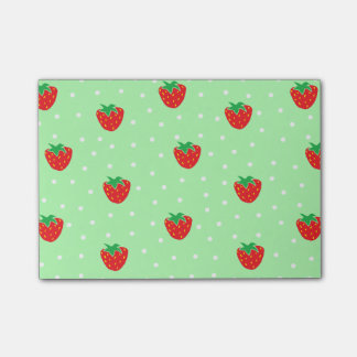 Strawberries and Polka Dots Mint Green Post-it® Notes