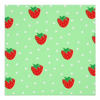 Strawberries and Polka Dots Mint Green Poster