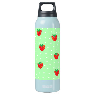 Strawberries and Polka Dots Mint Green 16 Oz Insulated SIGG Thermos Water Bottle