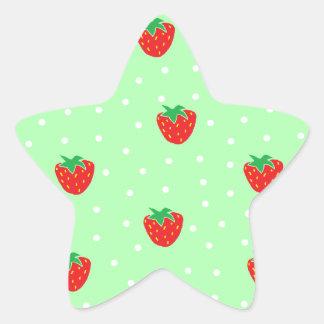 Strawberries and Polka Dots Mint Green Star Sticker