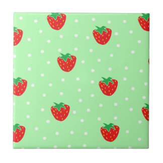 Strawberries and Polka Dots Mint Green Tile