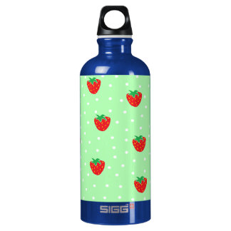 Strawberries and Polka Dots Mint Green Water Bottle
