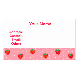 Strawberries and Polka Dots Pink Business Card