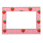 Strawberries and Polka Dots Pink Frame Magnet