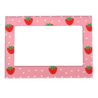 Strawberries and Polka Dots Pink Magnetic Frame