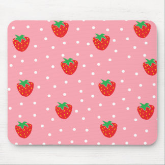 Strawberries and Polka Dots Pink Mouse Pad