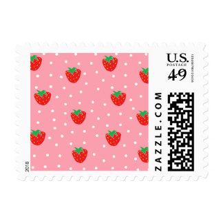 Strawberries and Polka Dots Pink Postage