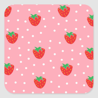 Strawberries and Polka Dots Pink Square Sticker