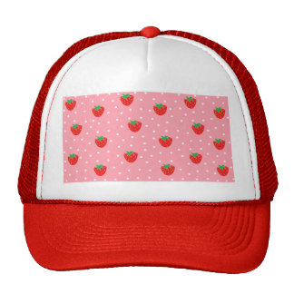 Strawberries and Polka Dots Pink Trucker Hat