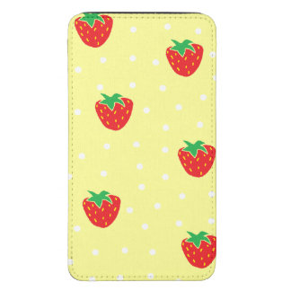 Strawberries and Polka Dots Yellow Galaxy S5 Pouch