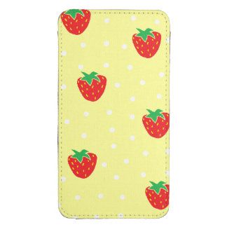 Strawberries and Polka Dots Yellow Galaxy S4 Pouch