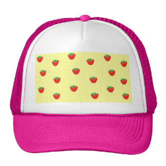 Strawberries and Polka Dots Yellow Trucker Hats