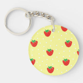Strawberries and Polka Dots Yellow Keychains