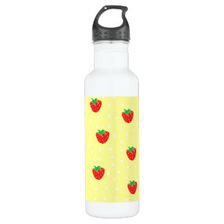 Strawberries and Polka Dots Yellow 24oz Water Bottle