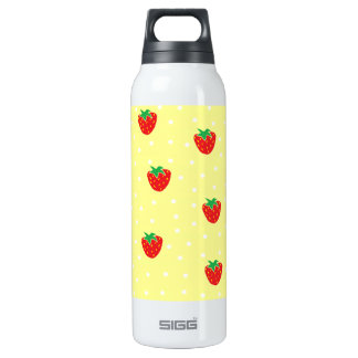 Strawberries and Polka Dots Yellow 16 Oz Insulated SIGG Thermos Water Bottle