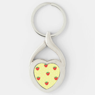 Strawberries and Polka Dots Yellow Silver-Colored Heart-Shaped Metal Keychain