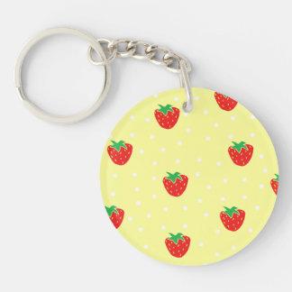 Strawberries and Polka Dots Yellow Single-Sided Round Acrylic Keychain