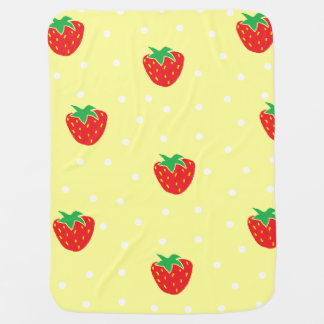 Strawberries and Polka Dots Yellow Stroller Blanket