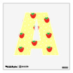 Strawberries and Polka Dots Yellow Wall Decal