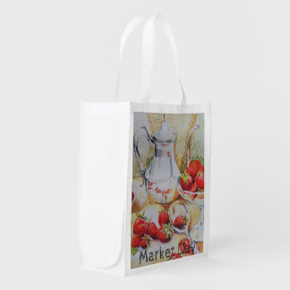 Strawberries and Tea Grocery Bag