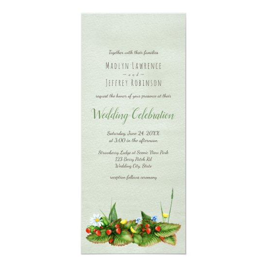 Strawberries and wildflowers country wedding card