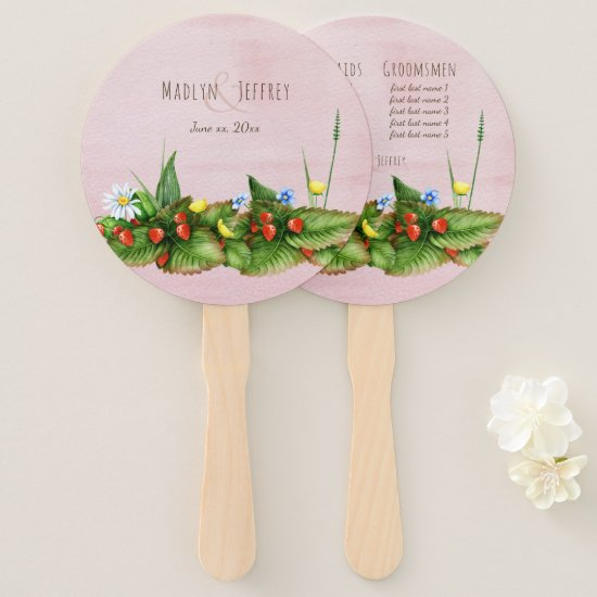 Strawberries and wildflowers custom names pink hand fan