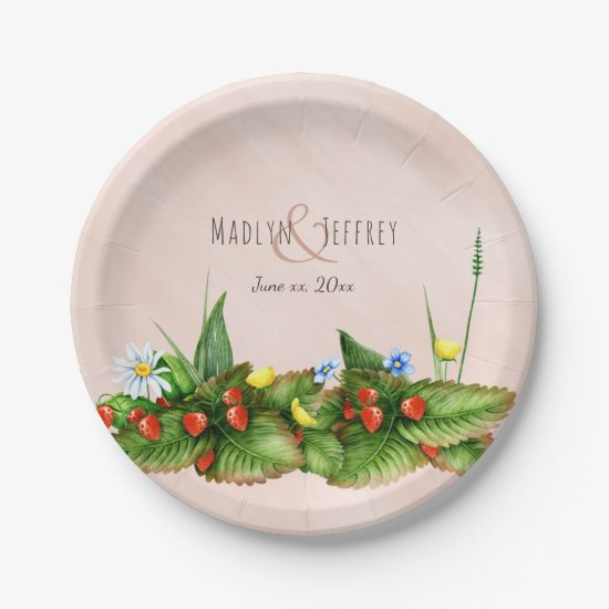 Strawberries and wildflowers meadow wedding paper plate